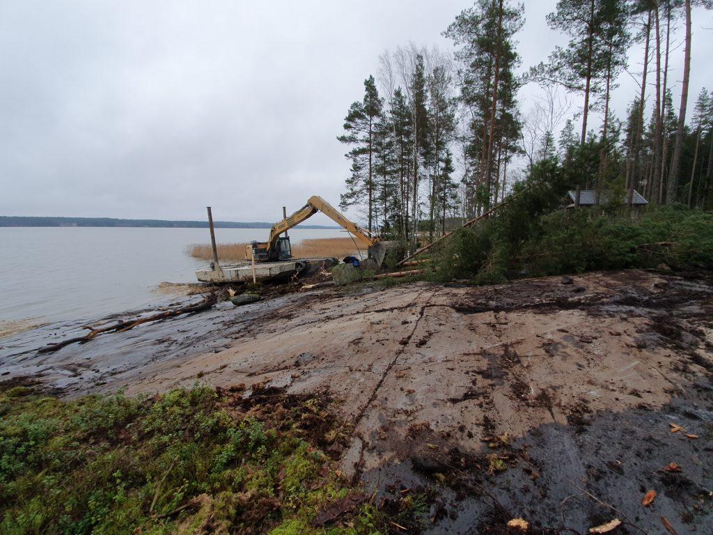 rannan ruoppaus jälkeen Kaivinkoneurakointi Lönnqvist oy